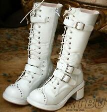 Gothic Robot Punk Cosplay Visual Kei V Stud Strap Buckle Heel Boots Handmade