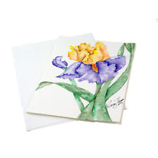 Set of 4 Watercolor Hand Painted Iris, Rose or Pansy Blank Notecards w/Envelopes