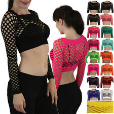 Pick Your Sexy Long Sleeve Fishnet Shirt Women Tops Blouse GoGo Dance Wear