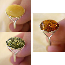 BALTIC GREEN, BUTTERSCOTCH or HONEY AMBER & STERLING SILVER RING VARIOUS SIZES