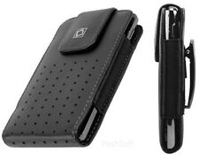 Leather VERTICAL Case Pouch Holder for SAMSUNG Phones. Black + Holster Belt Clip