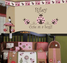 Pink and brown LaDyBug Vinyl garden wall sticker  and quote with name