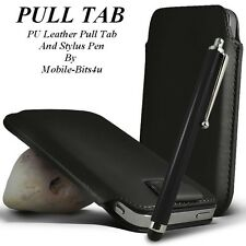 Black Premium PU Leather Pull Tab Pouch Case and Stylus For Various handsets xxl