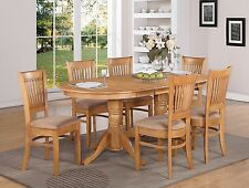 9-PC VANCOUVER OVAL DINETTE KITCHEN DINING SET TABLE w/8 UPHOLSTER CHAIRS IN OAK