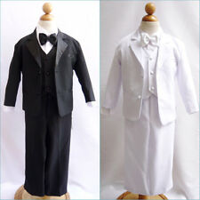 NEW  BOYS TUXEDO WITH VEST  BOW TIE BLACK WHITE FORMAL SUIT 5 PC size S - 20