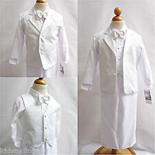 NEW WHITE BOYS COMMUNION BAPTISM TUXEDO RING BEARER FORMAL SUIT ALL SIZES