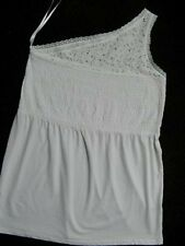 Avenue White Pima Cotton Lace One Shoulder Top 14/16 18/20 22/24 26/28 30/32 New