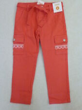 Gymboree BURST OF SPRING Coral Orange Embroidered Belted Cargo Pant NWT School