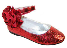 Girls New Beautiful Red Glitter Ballerina Shoes, Ideal for Parties & Weddings