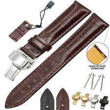 Genuine Leather Watch Band Strap Stainless Steel Fold Buckle Men Women 12~26mm