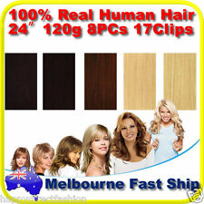 "Clip in REMY Real Human Hair Extensions 24"" 120g Full Head on Black Brown Blonde"
