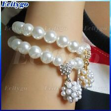 Korean Fashion Lady Women's Girls Pearl Ball Stretch Bracelet Bangles