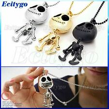 Black/Golden/Silver Big Eye ET Skull Skeleton UFO Pendant Necklace