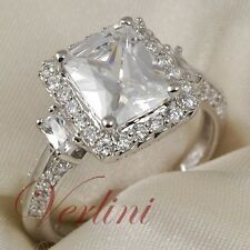 3.75 Ct Emerald Cut Cubic Zirconia Engagement Ring 925 Sterling Silver Size 5-10