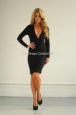 New womens ladies sexy low cut plunge v long sleeve bodycon knee length dress