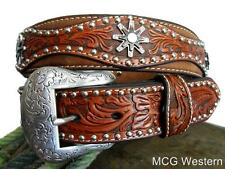 Nocona Western Mens Belt Leather Tooled Studs Spur Conchos Brown 2504208