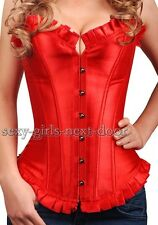 Bridal Red Satin CORSET Gothic Size S-6XL Moulin Rouge Fashion A106_red
