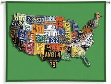 Woven Design USA Map of License Plate Tags Art Tapestry Wall Hanging