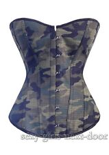 Green Nylon CORSET Camouflage S-6XL Super COOL Bustier A2653_green