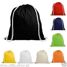 5 COTTON DRAWSTRING RUCKSACK BACKPACK TOTE BAG - SCHOOL GYM PE BOOK BAG - ECO