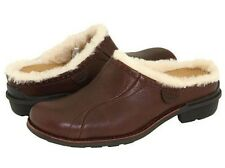 UGG Australia LANGFORD Brown Logo Leather Shearling Clogs Shoes US 5.5 6 6.5