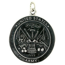 Sterling Silver U.S. Army Medal Pendant, 18 inch Italian Box Chain #PC199