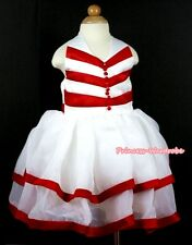 Xmas Red White V Striped Wedding Party Tutu Bridal Flower Girl Dress 2-8Y PD027