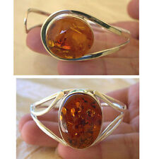 BALTIC HONEY AMBER & STERLING SILVER MODERN HANDMADE CUFF BRACELET