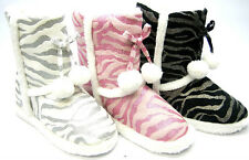 GLITTER ZEBRA SLIPPER BOOTS WITH TASSELS ~ BLACK or PINK or WHITE