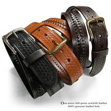 "Western Embossed Black Basketweave Hand Woven Leather Jeans Belt 1-1/2"" Wide"