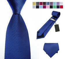 New Classic Solid Color Stripes JACQUARD WOVEN Silk Men's Tie Necktie FL