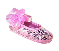Baby Girls soft sole pink sequin special occasion shoes, in presentation box