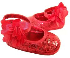 Baby girls red sequin soft sole special occasion shoes in presentation box