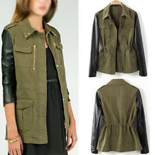 Lady Military Green Contrast Faux Leather Sleeve Coat Stud Collar Jacket Blazer