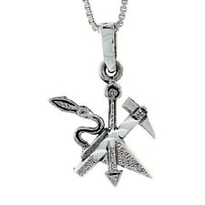 Sterling Silver Axe Pendant / Charm,18 inch Italian Box Chain
