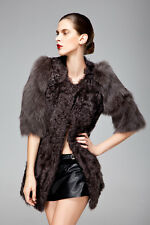 Real Lamb Fur Jackets Coat With Fox Fur Sleeves Classic Winter Outwear QD6392  A