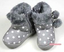 Winter Snow Adorable Casual Toddler Girl Gray Grey White Dots Suede Shoes Boots
