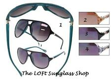 Sunglasses Metal Detail Hinge Retro Look Aviator Plastic Lens Lightweight KC03
