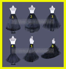 BLACK BRIDAL WEDDING PETTICOAT DRESS  PROM UNDERSKIRT CRINOLINE HOOP S-XL