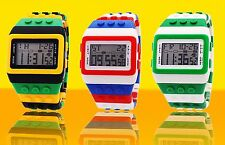 New Trend Unique Digital Fashion wrist Watch lego style rubber band online T21