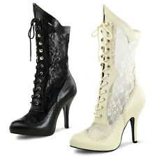 Wide Fit Victorian Wedding calf boots Sexy High Heels UK 4-10 Ivory or Black