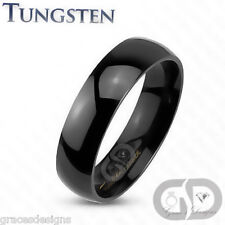 Tungsten Carbide 6mm Wedding Engagement Bridal Band High Polished Black IP Ring