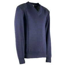 FINE KNIT CLASSIC VEE NECK JUMPER. 100% BRITISH WOOL WITH SUEDE PATCHES. #70005