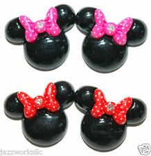 LARGE PINK or RED MINNIE MOUSE EARS STUD or CLIP ON EARRINGS ~ 2 STYLES ~ COLORS