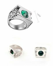 Platinum Plated Green Lantern Ring with Austrian Crystal
