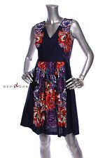 New With Tag $134 NINE WEST Women Flower Printed Cotton Dress Navy Red Size 4P