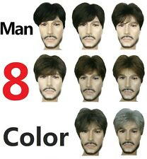 (8 color) Short Curly Straight Menfolk Man Men Wig Daily Wear Hair Wig + hairnet