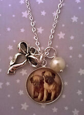 Vintage Kitsch Style Silver Puppy Pug Dog Bow Pearl Pendant Charm Necklace