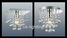 UKL553 - PALAZZO 1 - FLUSH FITTING CHROME CEILING LIGHT / CRYSTAL CLEAR DROPLETS