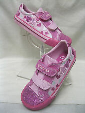 Girls Clarks Doodles Glitterbe Pre Pink Velcro Fastening Canvas Shoes.